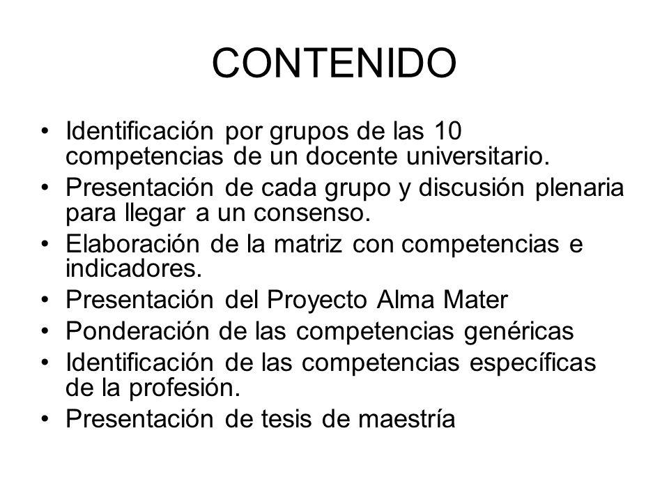 CONTENIDO Identificación por grupos de las 10 competencias de un docente universitario. Presentación de cada grupo y discusión plenaria para llegar a