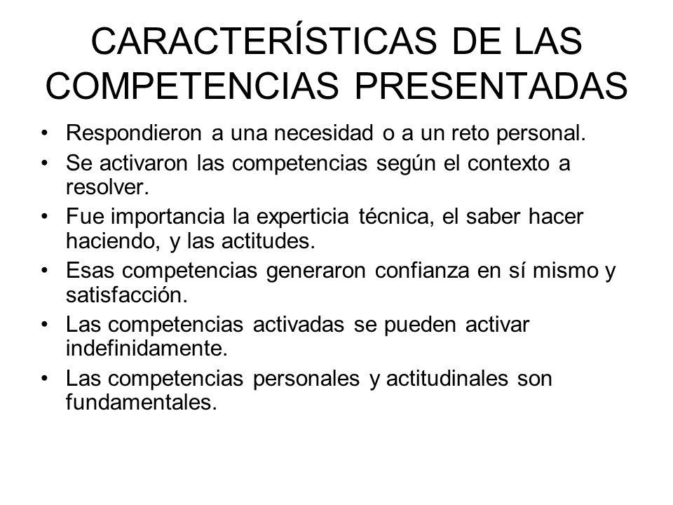 CARACTERÍSTICAS DE LAS COMPETENCIAS PRESENTADAS Respondieron a una necesidad o a un reto personal. Se activaron las competencias según el contexto a r