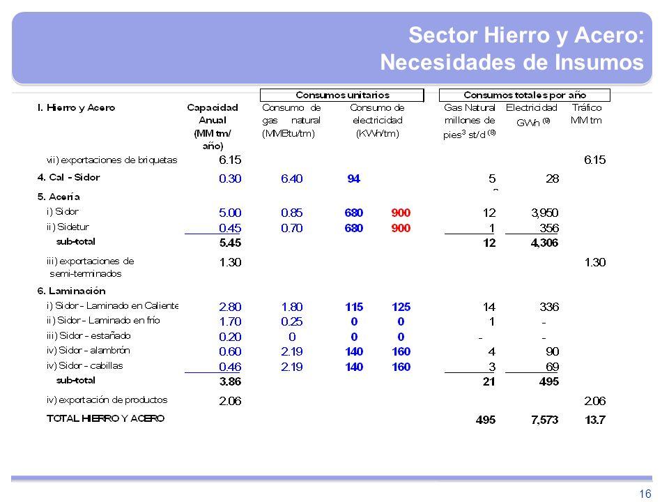 16 Sector Hierro y Acero: Necesidades de Insumos