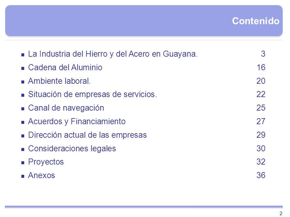 2 Contenido 2 La Industria del Hierro y del Acero en Guayana.3 Cadena del Aluminio16 Ambiente laboral.20 Situación de empresas de servicios.22 Canal d