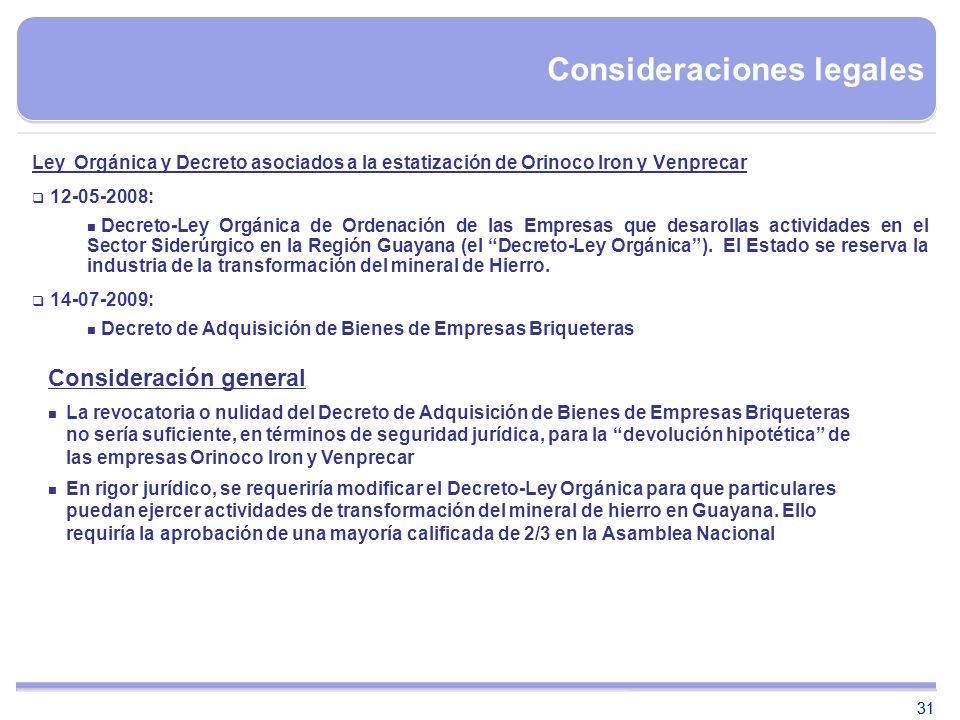 31 Consideraciones legales Ley Orgánica y Decreto asociados a la estatización de Orinoco Iron y Venprecar 12-05-2008: Decreto-Ley Orgánica de Ordenaci