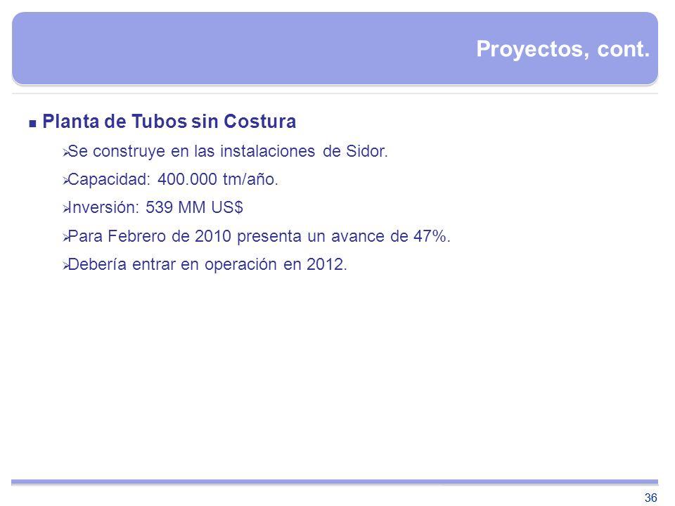 36 Proyectos, cont. Planta de Tubos sin Costura Se construye en las instalaciones de Sidor. Capacidad: 400.000 tm/año. Inversión: 539 MM US$ Para Febr