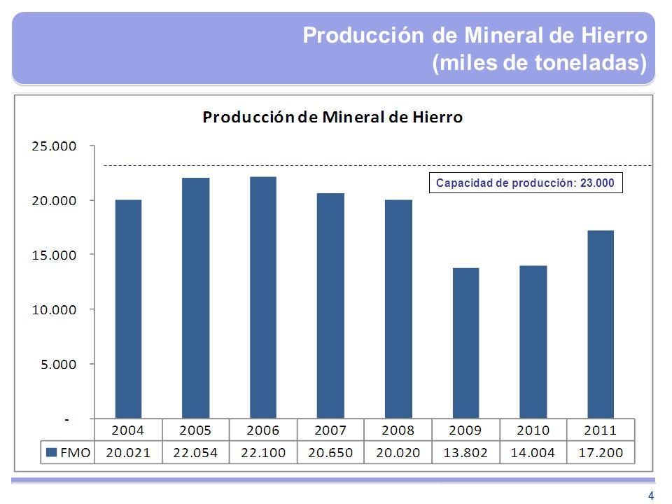44 Producción de Mineral de Hierro (miles de toneladas) Capacidad de producción: 23.000