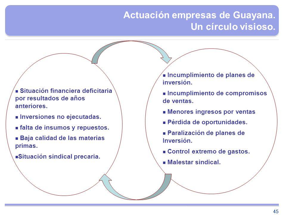 45 Actuación empresas de Guayana. Un círculo visioso. Situación financiera deficitaria por resultados de años anteriores. Inversiones no ejecutadas. f
