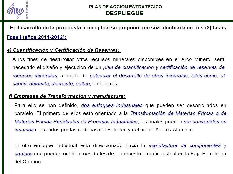 PLAN DE ACCIÓN ESTRATÉGICO DESPLIEGUE Fase I (años 2011-2012): e) Cuantificación y Certificación de Reservas: El desarrollo de la propuesta conceptual