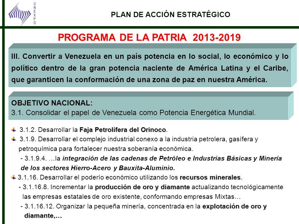 III. Convertir a Venezuela en un país potencia en lo social, lo económico y lo político dentro de la gran potencia naciente de América Latina y el Car