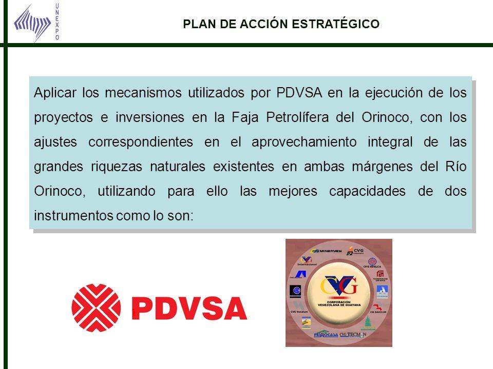 PLAN DE ACCIÓN ESTRATÉGICO Petrolífera del Orinoco. Aplicar los mecanismos utilizados por PDVSA en la ejecución de los proyectos e inversiones en la F
