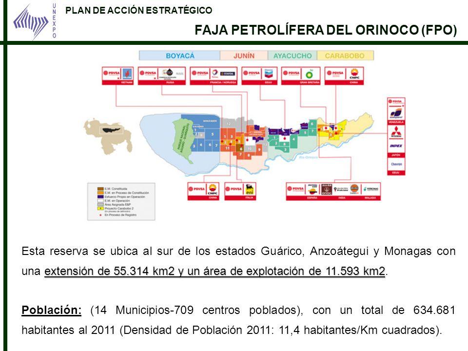 PLAN DE ACCIÓN ESTRATÉGICO FAJA PETROLÍFERA DEL ORINOCO (FPO) extensión de 55.314 km2 y un área de explotación de 11.593 km2 Esta reserva se ubica al