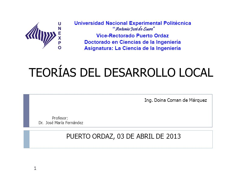 Desarrollo Local de Ciudad Guayana Puntos analizados en la Tesis Doctoral por el Prof.