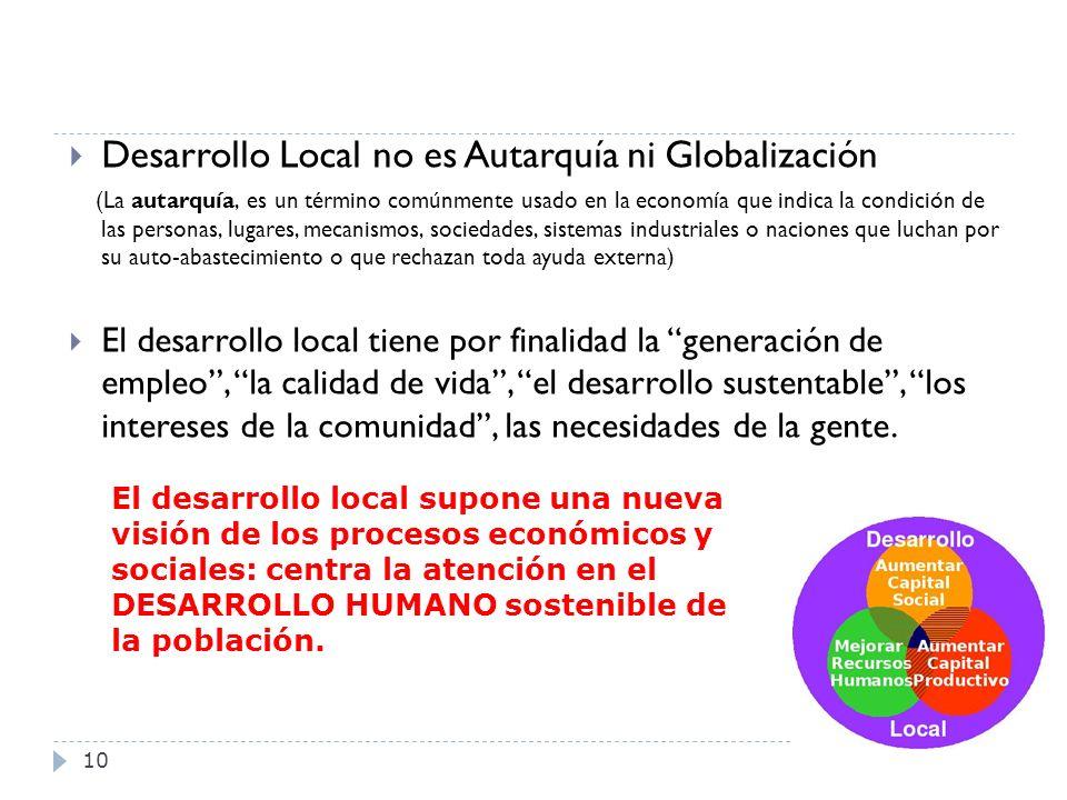 10 Desarrollo Local no es Autarquía ni Globalización (La autarquía, es un término comúnmente usado en la economía que indica la condición de las perso
