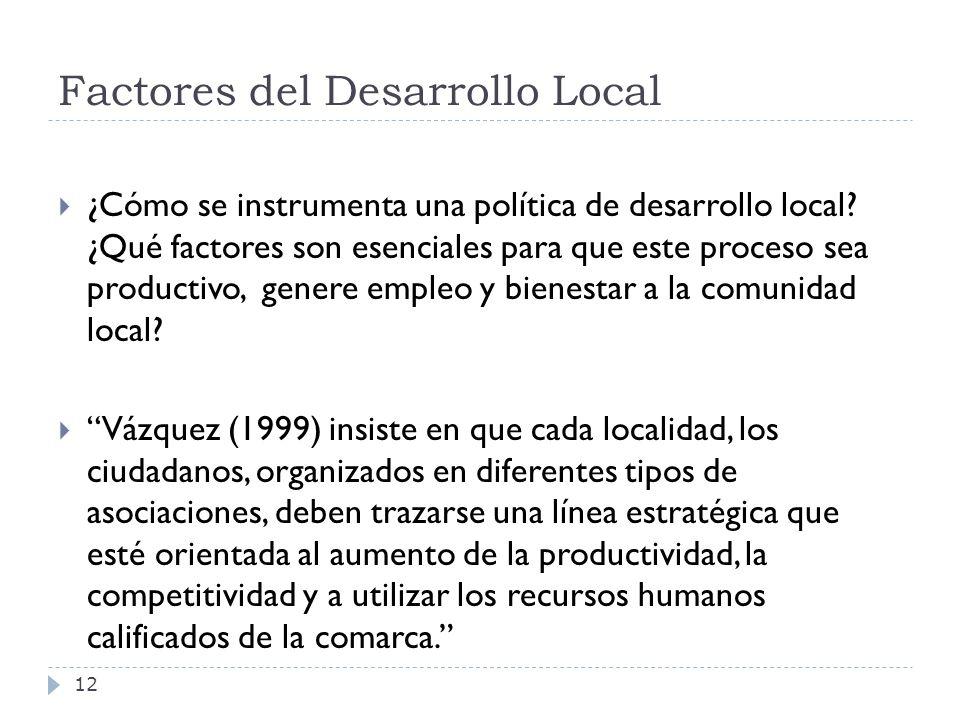 Factores del Desarrollo Local 12 ¿Cómo se instrumenta una política de desarrollo local? ¿Qué factores son esenciales para que este proceso sea product