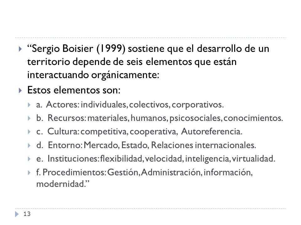 13 Sergio Boisier (1999) sostiene que el desarrollo de un territorio depende de seis elementos que están interactuando orgánicamente: Estos elementos