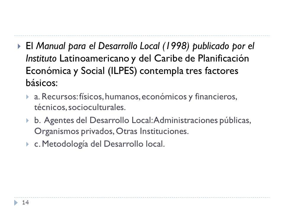 14 El Manual para el Desarrollo Local (1998) publicado por el Instituto Latinoamericano y del Caribe de Planificación Económica y Social (ILPES) conte