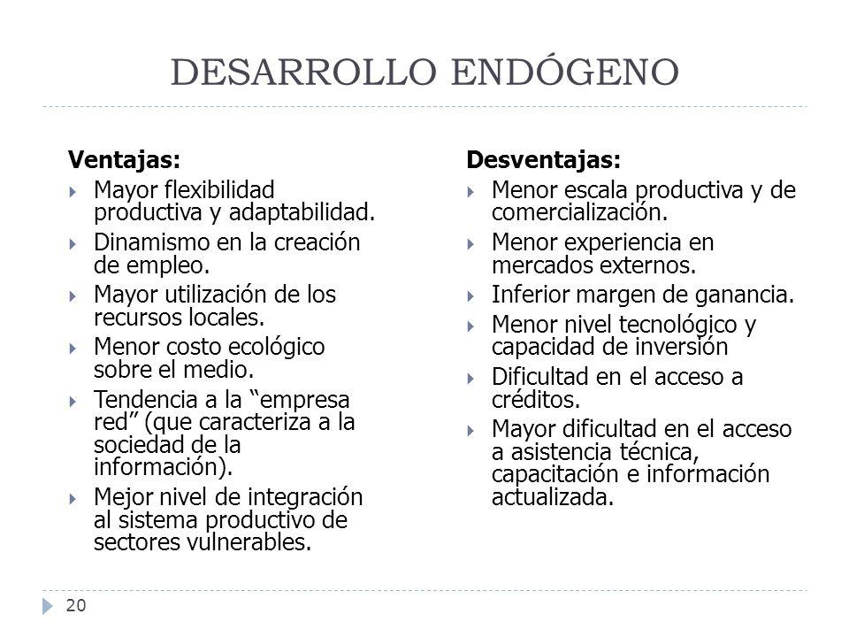 DESARROLLO ENDÓGENO 20 Ventajas: Mayor flexibilidad productiva y adaptabilidad. Dinamismo en la creación de empleo. Mayor utilización de los recursos