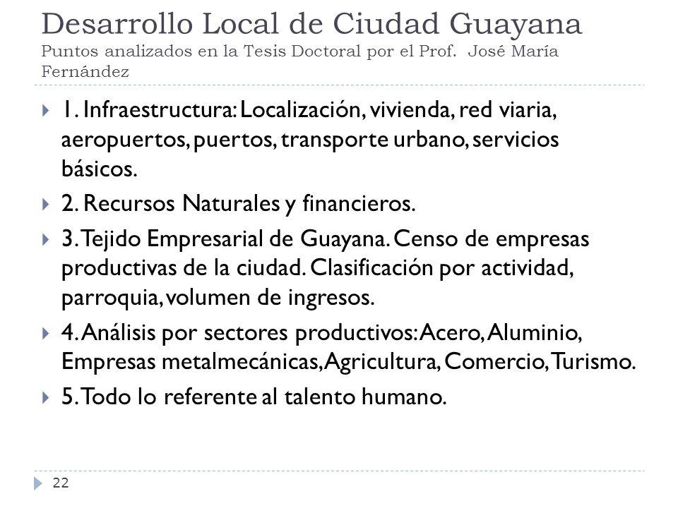 Desarrollo Local de Ciudad Guayana Puntos analizados en la Tesis Doctoral por el Prof. José María Fernández 1. Infraestructura: Localización, vivienda