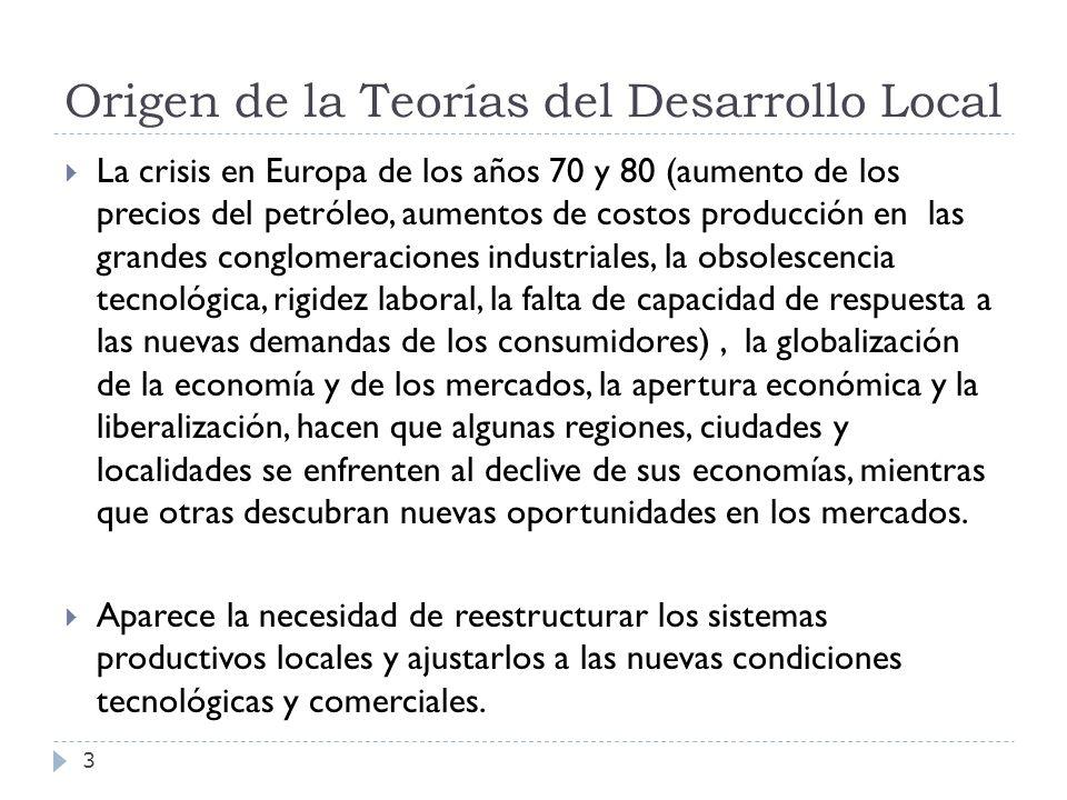 Origen de la Teorías del Desarrollo Local 3 La crisis en Europa de los años 70 y 80 (aumento de los precios del petróleo, aumentos de costos producció