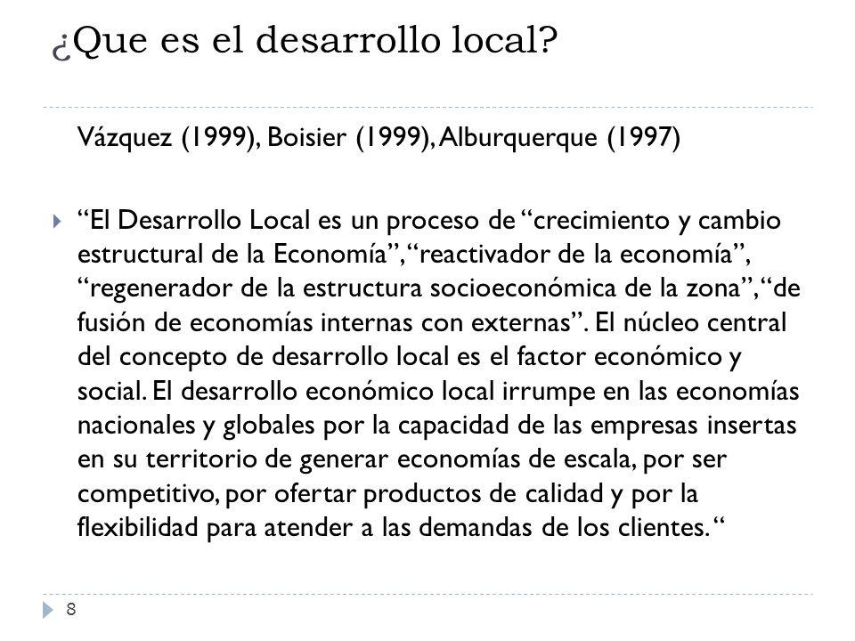 ¿Que es el desarrollo local? 8 Vázquez (1999), Boisier (1999), Alburquerque (1997) El Desarrollo Local es un proceso de crecimiento y cambio estructur