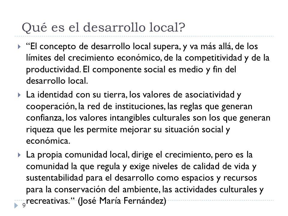 Qué es el desarrollo local? El concepto de desarrollo local supera, y va más allá, de los límites del crecimiento económico, de la competitividad y de