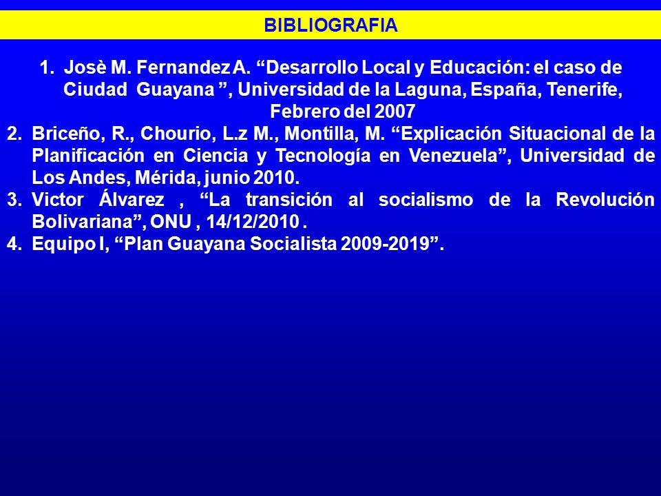 BIBLIOGRAFIA 1.Josè M. Fernandez A. Desarrollo Local y Educación: el caso de Ciudad Guayana, Universidad de la Laguna, España, Tenerife, Febrero del 2