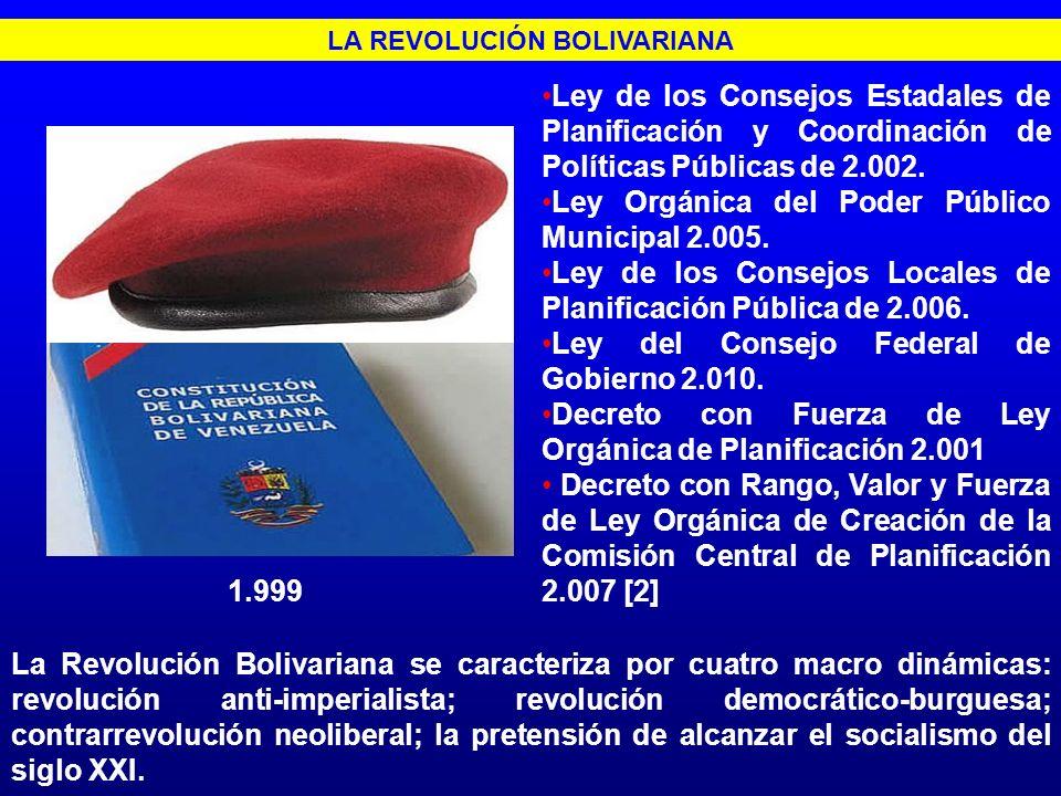 LA REVOLUCIÓN BOLIVARIANA Ley de los Consejos Estadales de Planificación y Coordinación de Políticas Públicas de 2.002. Ley Orgánica del Poder Público