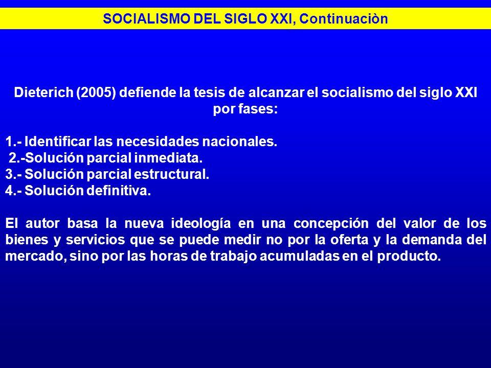 Dieterich (2005) defiende la tesis de alcanzar el socialismo del siglo XXI por fases: 1.- Identificar las necesidades nacionales. 2.-Solución parcial