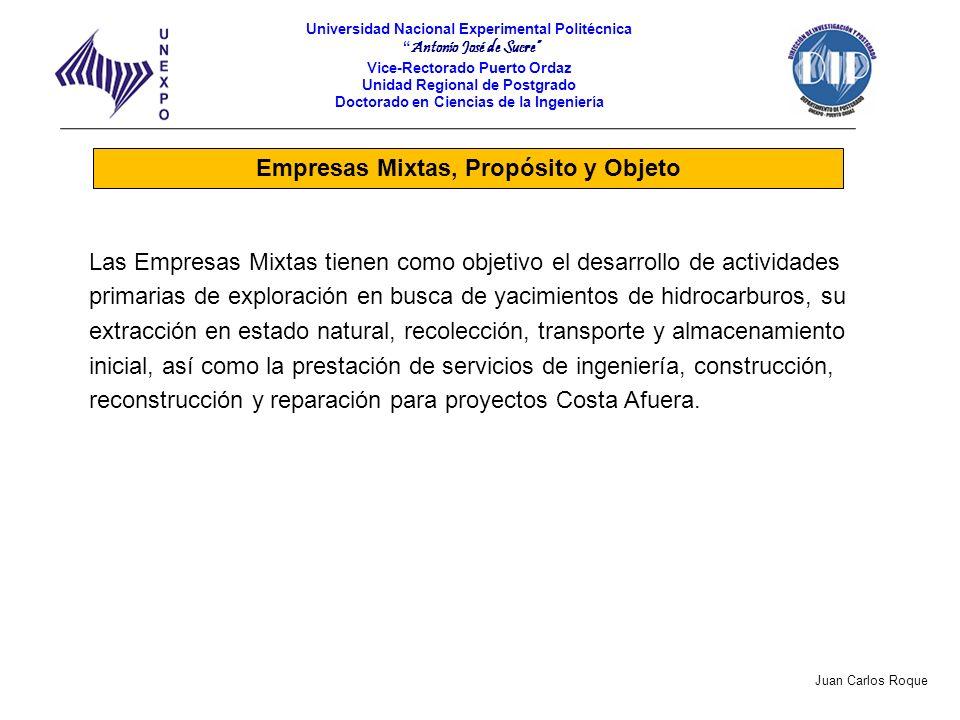 Empresas Mixtas, Propósito y Objeto Las Empresas Mixtas tienen como objetivo el desarrollo de actividades primarias de exploración en busca de yacimie