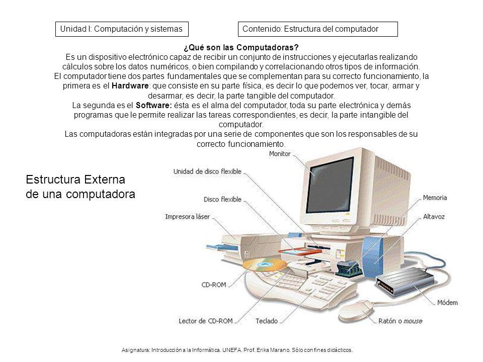 Unidad I: Computación y sistemasContenido: Estructura del computador Asignatura: Introducción a la Informática. UNEFA. Prof. Erika Marano. Sólo con fi