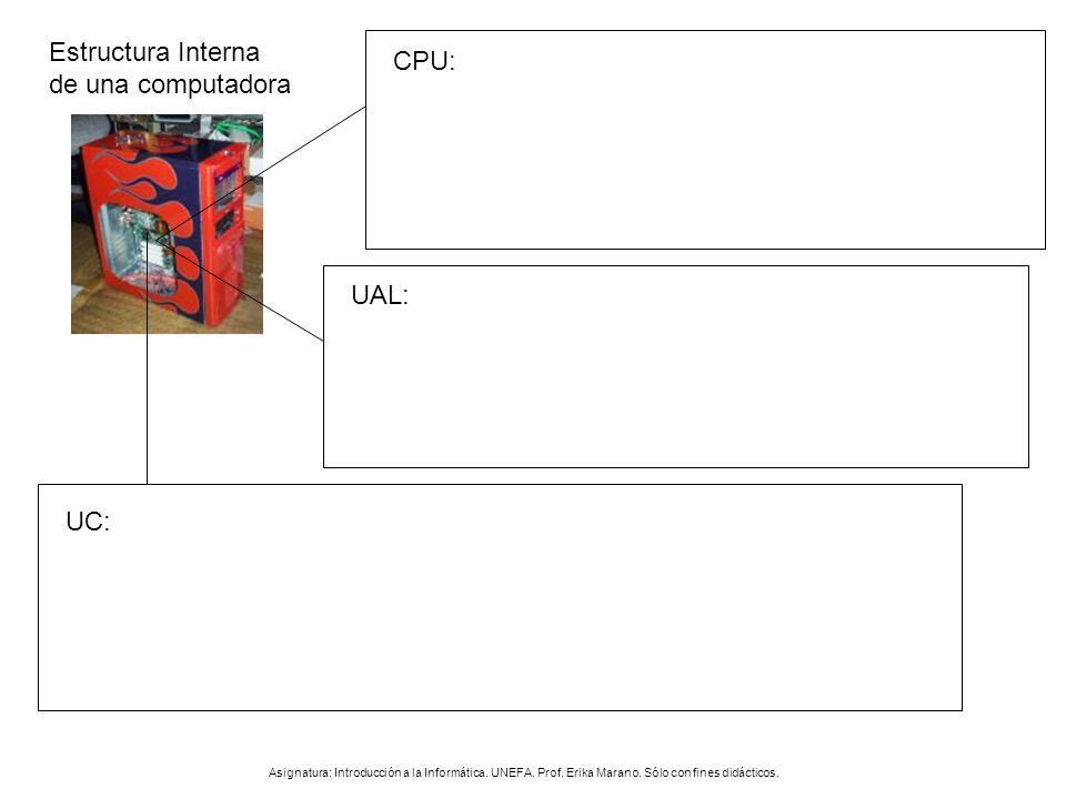 Estructura Interna de una computadora Asignatura: Introducción a la Informática. UNEFA. Prof. Erika Marano. Sólo con fines didácticos. CPU: UAL: UC: