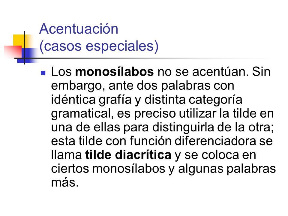 Acentuación (casos especiales) Los monosílabos no se acentúan. Sin embargo, ante dos palabras con idéntica grafía y distinta categoría gramatical, es