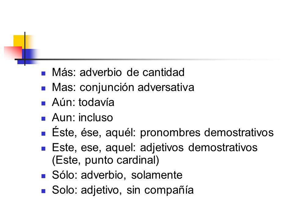 Más: adverbio de cantidad Mas: conjunción adversativa Aún: todavía Aun: incluso Éste, ése, aquél: pronombres demostrativos Este, ese, aquel: adjetivos