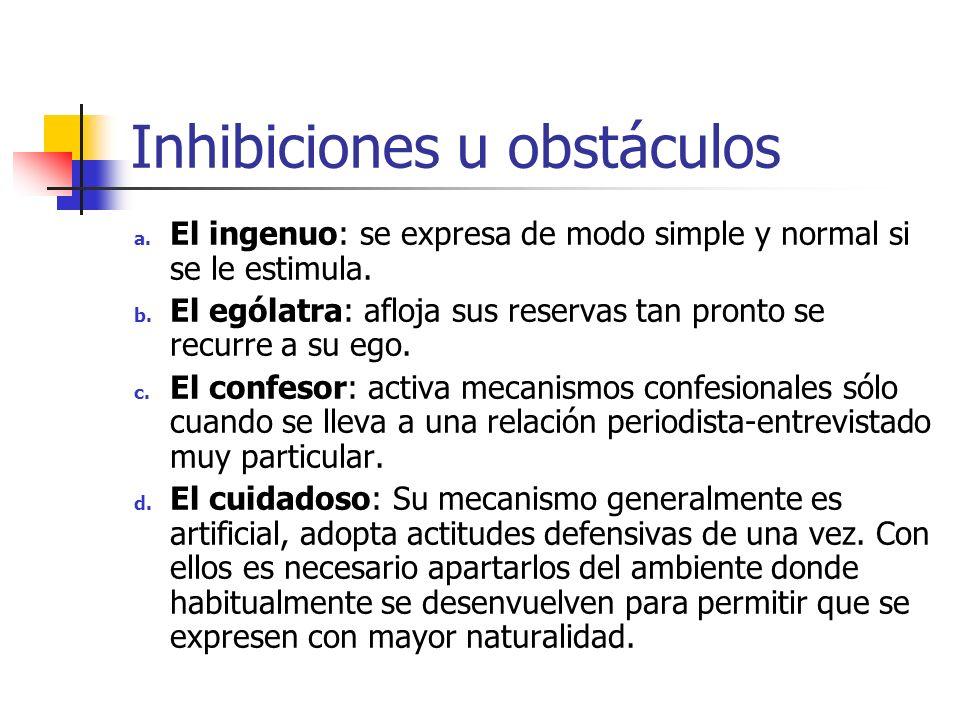 Inhibiciones u obstáculos a. El ingenuo: se expresa de modo simple y normal si se le estimula. b. El ególatra: afloja sus reservas tan pronto se recur