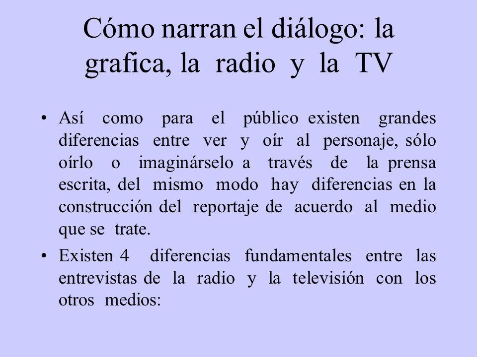 Cómo narran el diálogo: la grafica, la radio y la TV Así como para el público existen grandes diferencias entre ver y oír al personaje, sólo oírlo o i