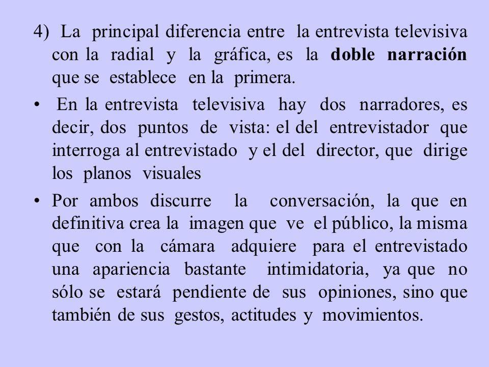 4) La principal diferencia entre la entrevista televisiva con la radial y la gráfica, es la doble narración que se establece en la primera. En la entr