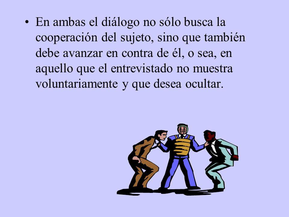 En ambas el diálogo no sólo busca la cooperación del sujeto, sino que también debe avanzar en contra de él, o sea, en aquello que el entrevistado no m