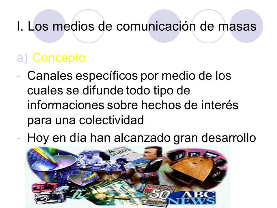 ESQUEMA I.Los medios de comunicación de masas a) Concepto b) Características comunicativas II. La prensa III. Los textos periodísticos informativos a)