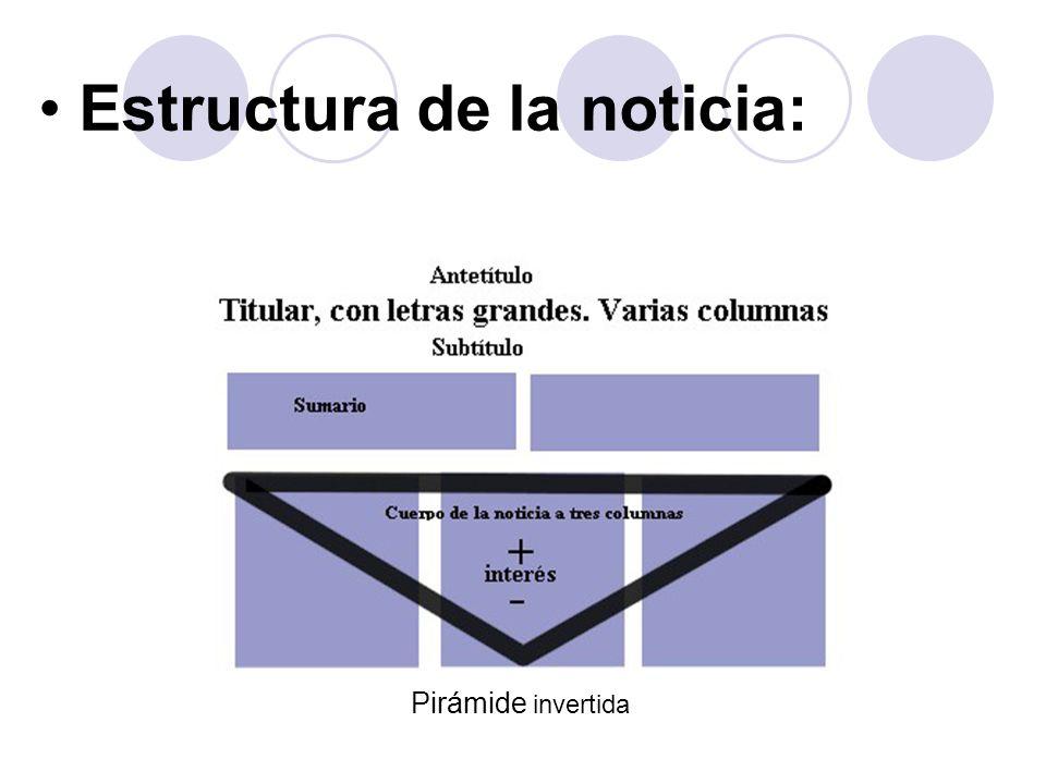Noticia.- Intención del discurso: El ideal de objetividad debe presidir la labor del periodista, puesto que su misión es informar Aspectos lingüístico