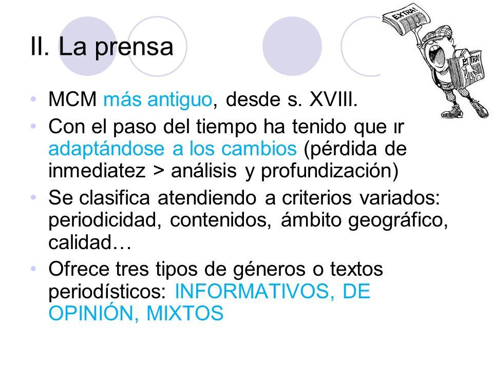 II.La prensa MCM más antiguo, desde s. XVIII.