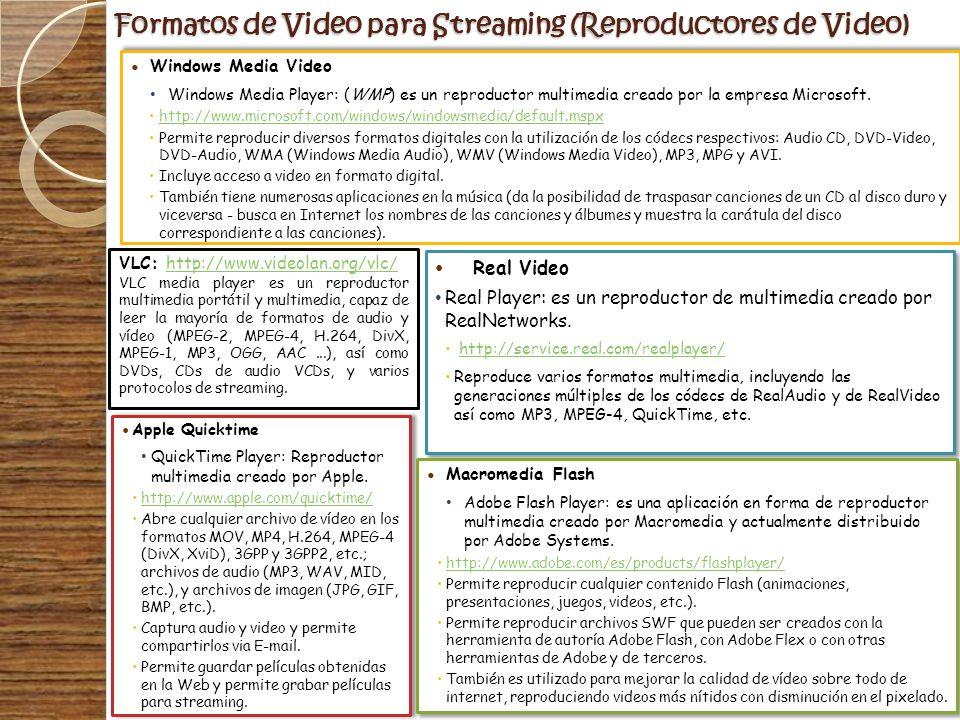 Formatos de Video para Streaming (Reproductores de Video) Windows Media Video Windows Media Player: (WMP) es un reproductor multimedia creado por la e