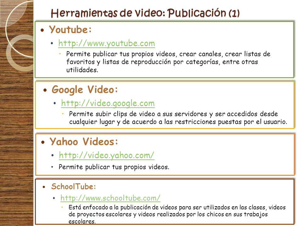 Herramientas de video: Publicación (1) Google Video: http://video.google.com Permite subir clips de video a sus servidores y ser accedidos desde cualq