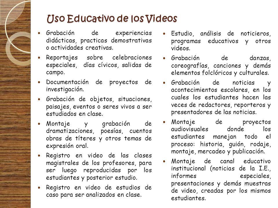 Uso Educativo de los Videos Grabación de experiencias didácticas, practicas demostrativas o actividades creativas. Reportajes sobre celebraciones espe