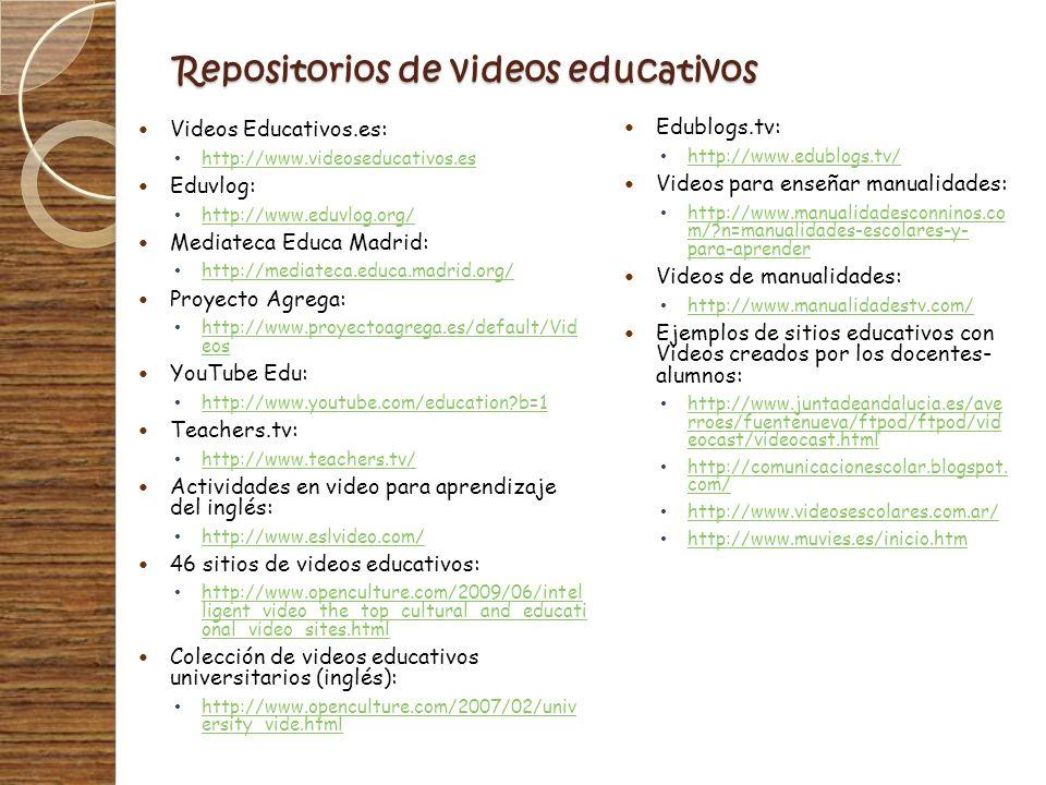 Repositorios de videos educativos Videos Educativos.es: http://www.videoseducativos.es Eduvlog: http://www.eduvlog.org/ Mediateca Educa Madrid: http:/