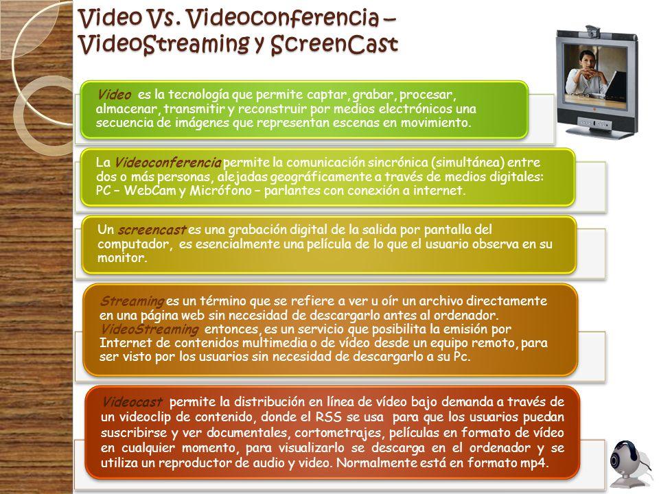 Video Vs. Videoconferencia – VideoStreaming y ScreenCast Video es la tecnología que permite captar, grabar, procesar, almacenar, transmitir y reconstr