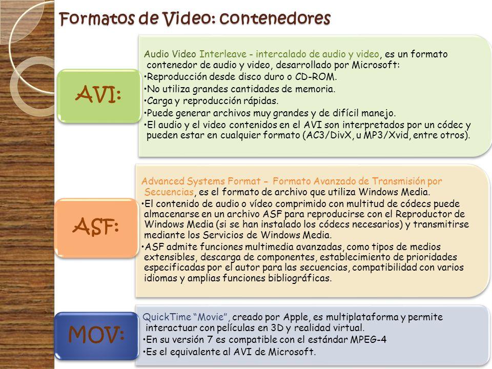 Formatos de Video: contenedores Audio Video Interleave - intercalado de audio y video, es un formato contenedor de audio y video, desarrollado por Mic