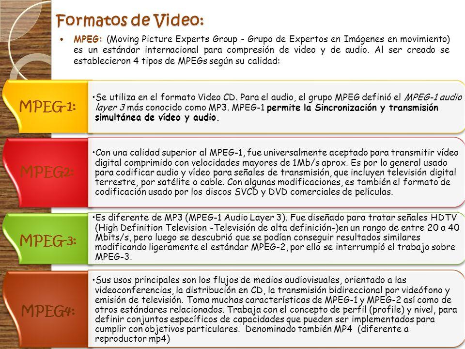 Formatos de Video: MPEG: (Moving Picture Experts Group - Grupo de Expertos en Imágenes en movimiento) es un estándar internacional para compresión de
