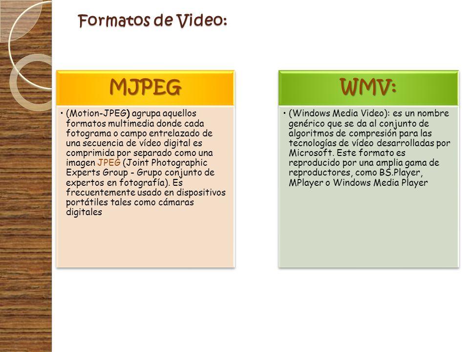Formatos de Video: MJPEG (Motion-JPEG) agrupa aquellos formatos multimedia donde cada fotograma o campo entrelazado de una secuencia de vídeo digital