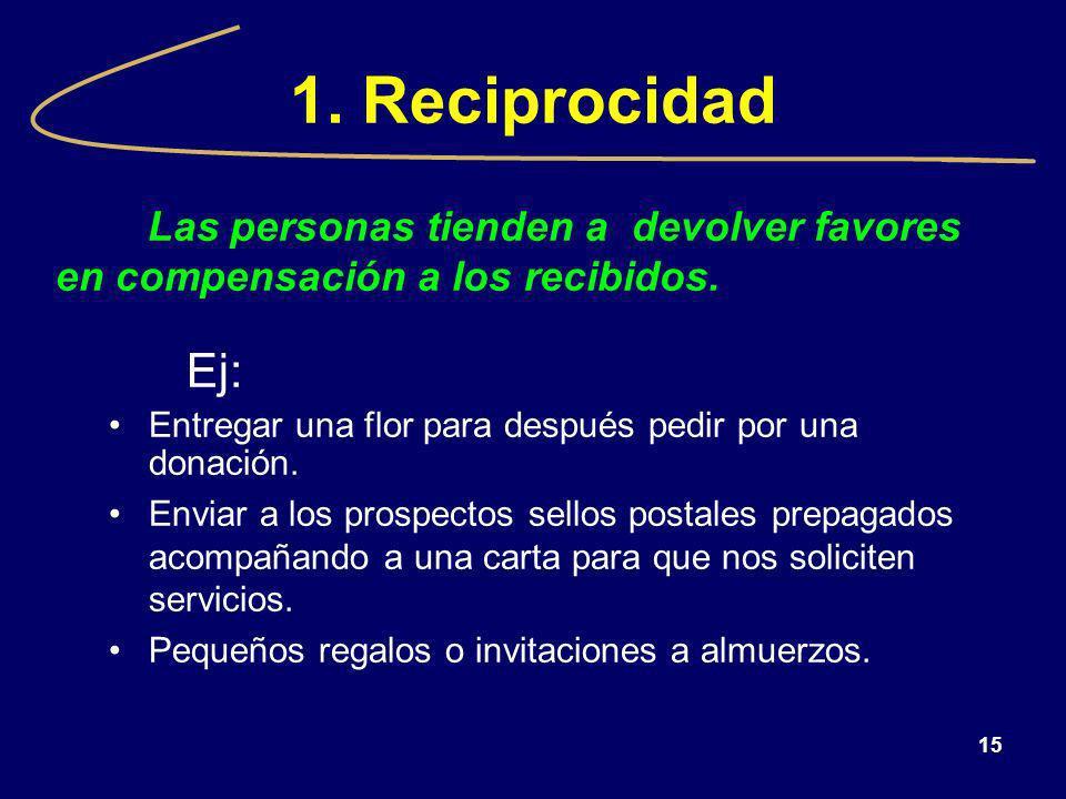 15 1. Reciprocidad Las personas tienden a devolver favores en compensación a los recibidos. Ej: Entregar una flor para después pedir por una donación.