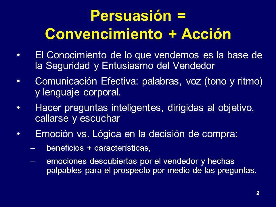 2 Persuasión = Convencimiento + Acción El Conocimiento de lo que vendemos es la base de la Seguridad y Entusiasmo del Vendedor Comunicación Efectiva: