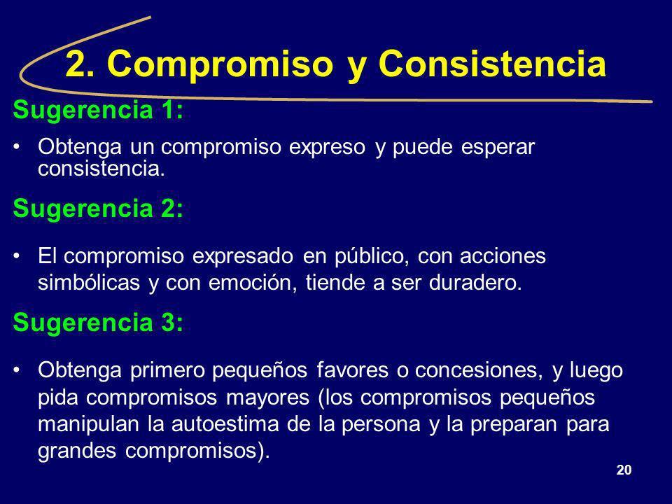 20 2. Compromiso y Consistencia Sugerencia 1: Obtenga un compromiso expreso y puede esperar consistencia. Sugerencia 2: El compromiso expresado en púb
