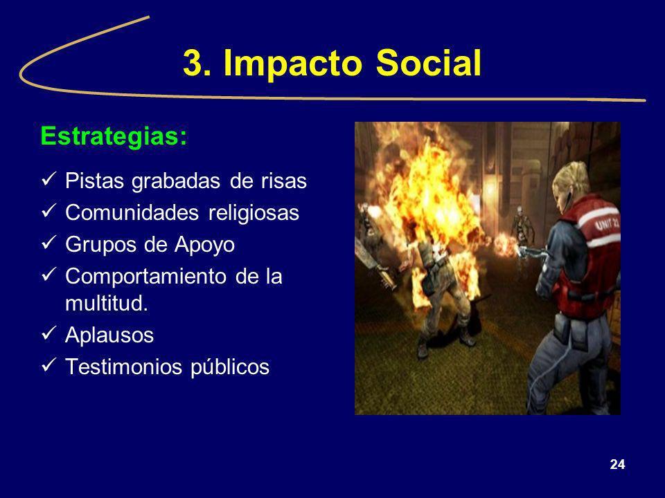 24 3. Impacto Social Estrategias: Pistas grabadas de risas Comunidades religiosas Grupos de Apoyo Comportamiento de la multitud. Aplausos Testimonios
