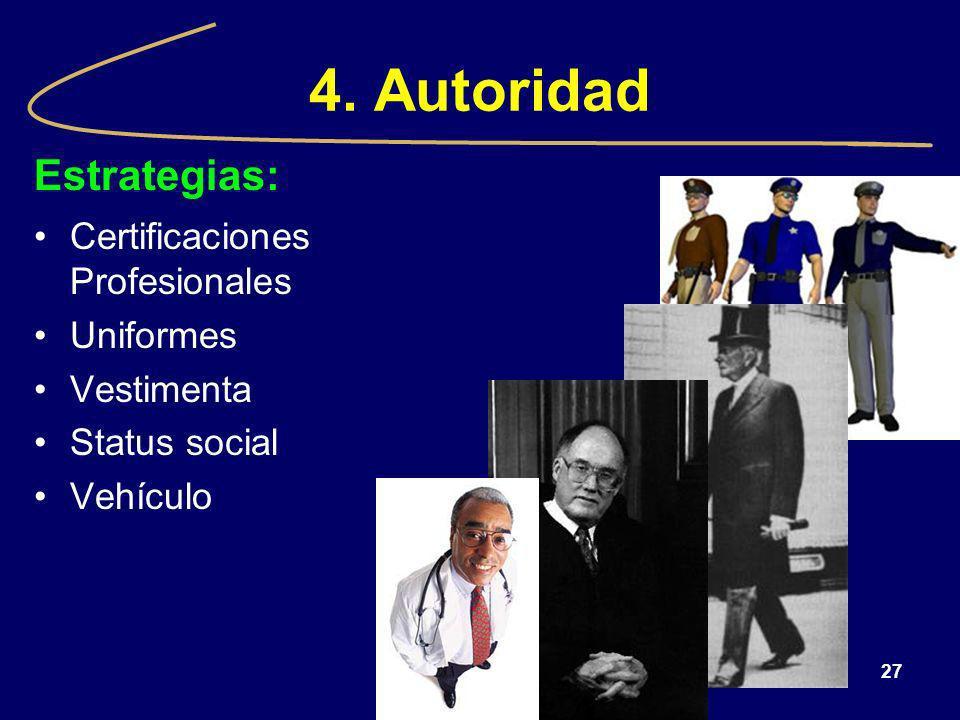 27 4. Autoridad Estrategias: Certificaciones Profesionales Uniformes Vestimenta Status social Vehículo